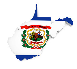 Geographic border map and flag of West Virginia state isolated on a white background, 3D rendering