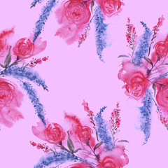 Watercolor seamless vintage background with a floral pattern, a branch of a rose flower, leaves, lavender, wild flower. Fashionable and stylish drawing. Pink pattern