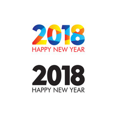2018 Happy New Year set. Vector Illustration. Design element for flyers, leaflets, postcards and posters.