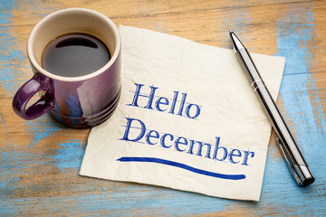 Hello December note on a napkin