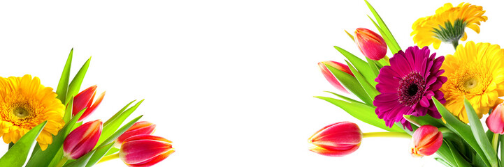 Bouquet of tulips and gerberas