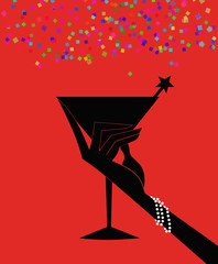 Silhouette of a Woman's Hand Holding a Cocktail on a Red Background