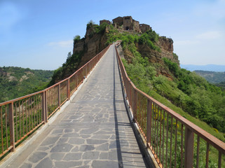 Beautiful way to famous Civita di Bagnoregio with Tiber river valley,Italy