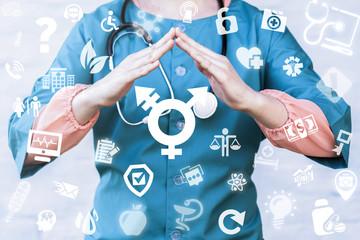 Transgender Safety Medicine concept. Medical Ethics, Tolerance. Doctor holds roof hands over transgender (combining gender) symbol on a virtual digital screen interface.