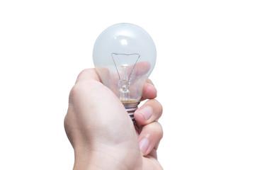Lightbulb in Hand Isolated on white