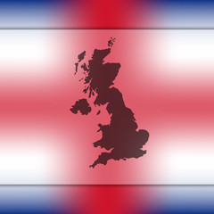 Blurred background with silhouette of United Kingdom. United Kingdom. United Kingdom map. London. England map. England. United Kingdom flag. Great Britain.