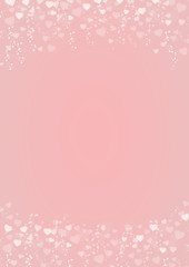 Pink background with hearts header and footer
