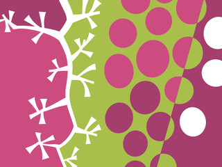 Abstract fruit design in flat cut out style. Grapes and stems. Vector illustration.