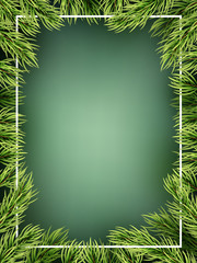 Christmas tree branches frame template. EPS 10 vector