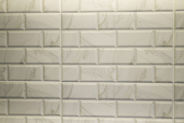 White marble tile in modern kitchen