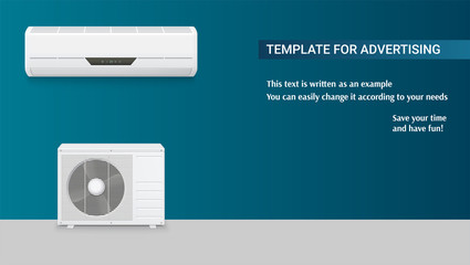 Template with air conditioning for advertisement on horizontal long backdrop, 3D illustration with example of text design. Icons of realistic white air conditioning, full set of two blocks.