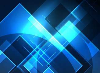 Glowing squares in the dark, digital abstract background