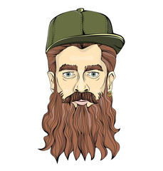 Hipster-looking man with a beard wearing green cap on a white background. Head graphic image. Isolated vector illustration.