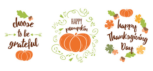 Vector set of Thanksgiving wishes lettering cards design with pumpkin, leaf, oak, maple, quotes