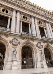 Architectural details of Opera National de Paris. Grand Opera Garnier Palace is famous neo-baroque building in Paris, France - UNESCO World Heritage Site
