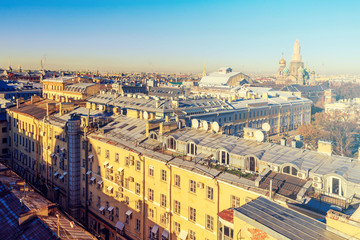 panorama on the roofs in St. Petersburg