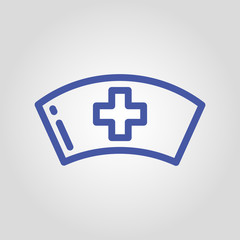 Woman doctor or nurse cap isolated linear flat vector icon