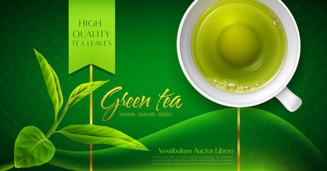 Vector 3d illustration with a mug of green tea and leaves on a green background. Template for packing. Element for design, advertising of product promotion, banner Wall mural