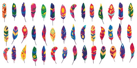 Vector colored feathers set. Bird feathers painted in colorful patterns.White background. For web design.