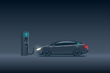 Modern Luxury Electric Car Charging at the Charging Station