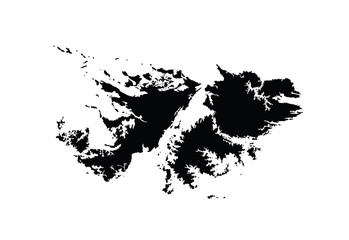 Detailed map of Falkland Islands, vector map isolated on white background. High detailed silhouette illustration.