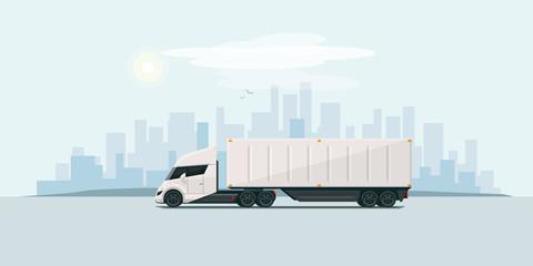Modern Futuristic Electric Semi Truck with Trailer in the City