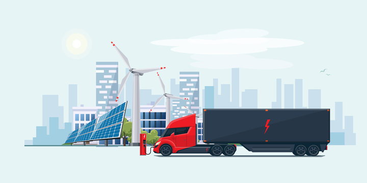 Electric Semi Truck in City with Solar Panels and Wind Turbines
