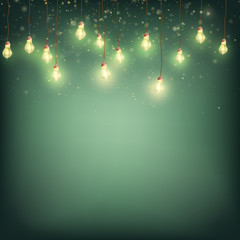 Merry Christmas Card Concept - Glowing Lights Garland. EPS 10 vector