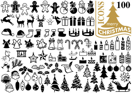 Set of Modern Flat Christmas Icons for Design Projects - Black and White Illustrations, Vector