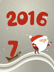 Santa Claus is driven by the sleigh number seven. Illustration for design Christmas cards, banners, website, 2017 Happy new year card