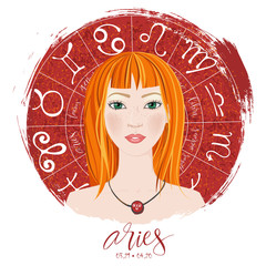 Zodiac signs Aries  in image of beauty girl.
