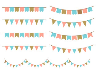 Vector Illustration of Colorful Garlands on white background.