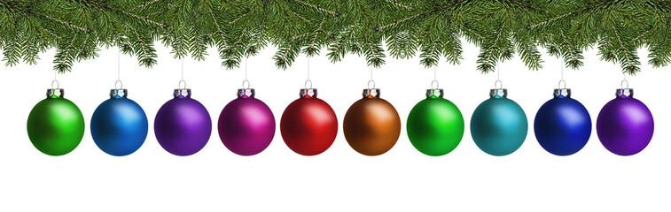 Weihnachtskugeln und Tannenzweige