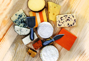 Stylish, beautiful cheeseboard platter -  cheddar, gloucester, stilton, gorgonzola, red leicester, feta, roule, camembert, brie...