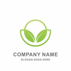Organic Herbal Green Leaf Nature Farm Vegetables Agriculture Business Company Stock Vector Logo Design Template