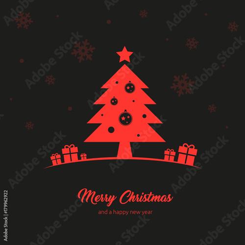 elegante und schlichte Grußkarte zu Weihnachten mit Merry Christmas ...