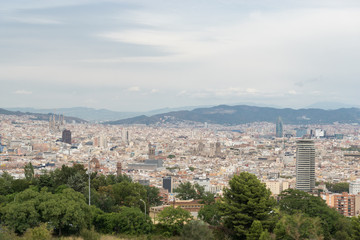 Aerial view from Montjuic of Barcelona, Spain