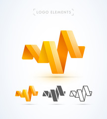 Vector abstract origami music wave logo template, ribbon. Material design, flat and line-art style