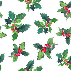 Holly branches. Watercolor repeated pattern