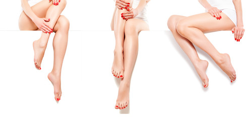 Photo sur Plexiglas Pedicure Three beautiful slim woman with red manicure, sitting at banner, isolated on white background