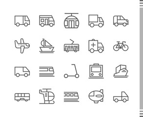 Flat vector icons with a thin line. Set for mobile applications. Transport and mode of transportation