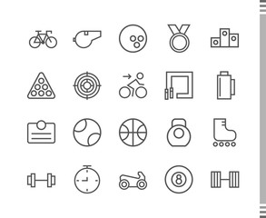 Flat vector icons with a thin line. Set for mobile applications. Sport and a healthy lifestyle