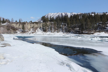 Ice melting on the river in the spring, Katun River, Ongudaysky district, Altai, Russia