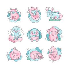 Cute funny cartoon baby animals sleeping set, sweet dreams concept vector Illustration