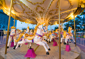 merry go round horses with nobody, wide lens