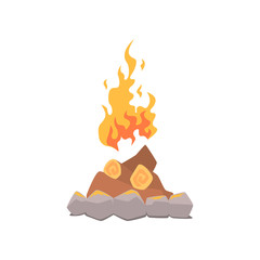 Campfire bonfire surrounded by stones cartoon vector Illustration