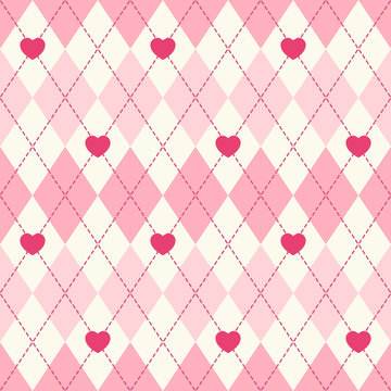 Cute retro seamless argyle background with hearts