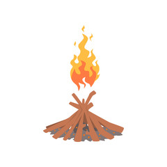 Burning bonfire with wood cartoon vector Illustration