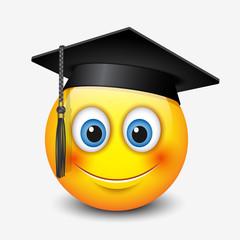 Cute smiling emoticon wearing mortar board, emoji