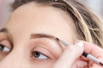 make-up and modeling of eyebrows, close-up